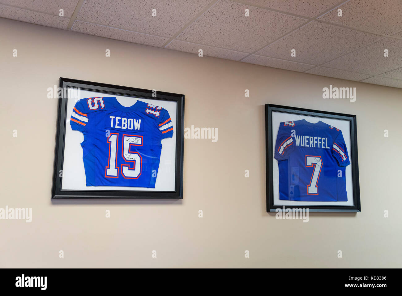 Tim Tebow and Danny Wuerffel signed football jerseys on display in an office. - Stock Image