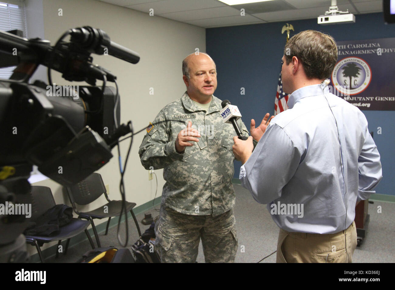 South Carolina Adjutant General, Maj. Gen. Robert E. Livingston, conducts an interview with local media after the - Stock Image