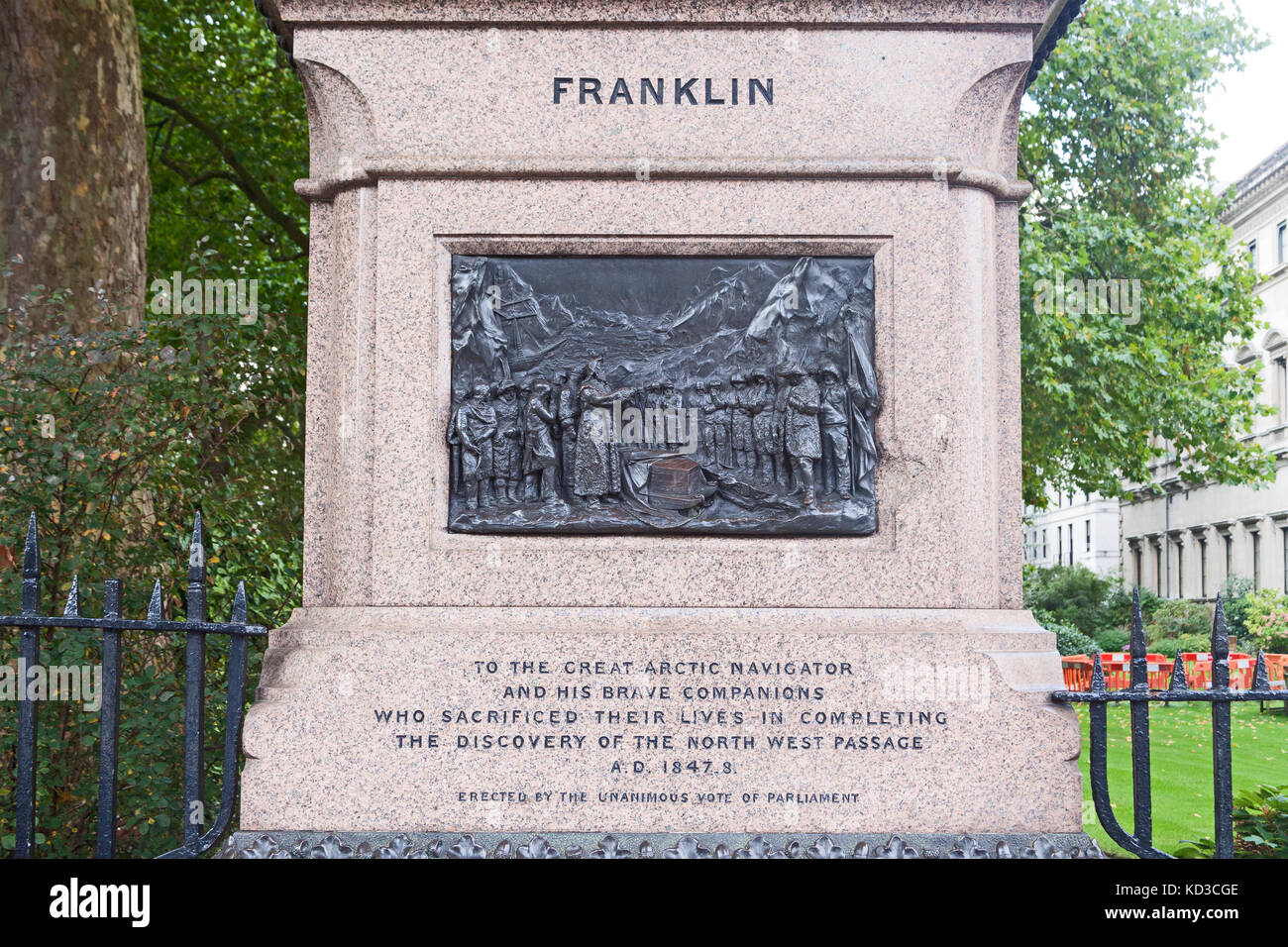 London, Westminster  A memorial to Sir John Franklin, Arctic explorer, in Waterloo Place - Stock Image