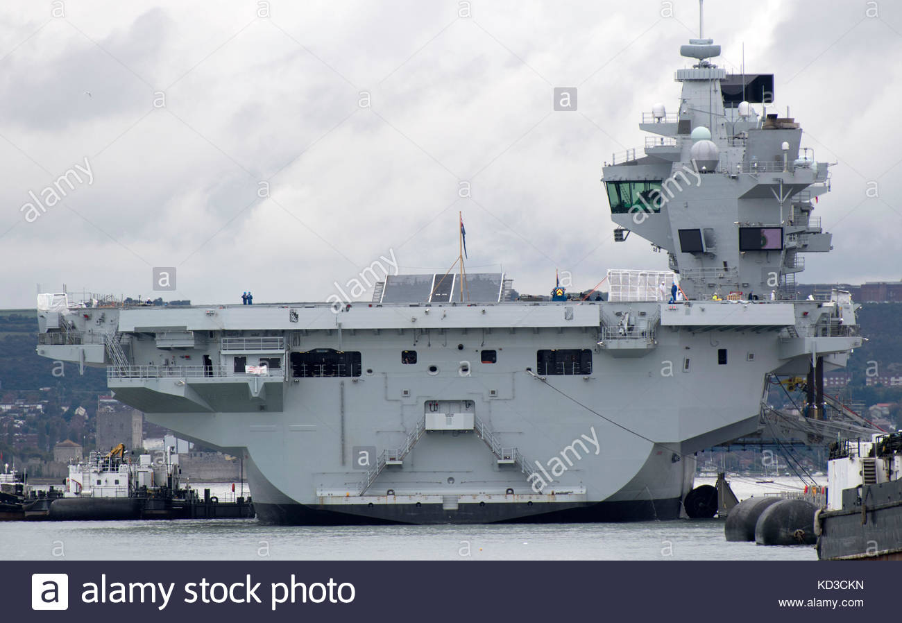 Pictured today 9/10/17 is HMS Queen Elizabeth docked at her home port of Portsmouth, at the Naval Base. The Royal - Stock Image