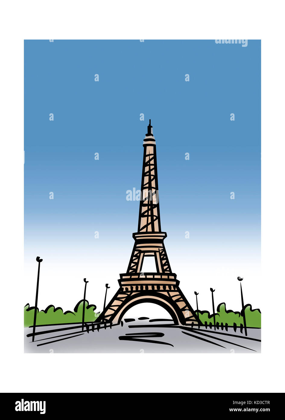 Illustration of the Eiffel Tower in Paris, France - Stock Image