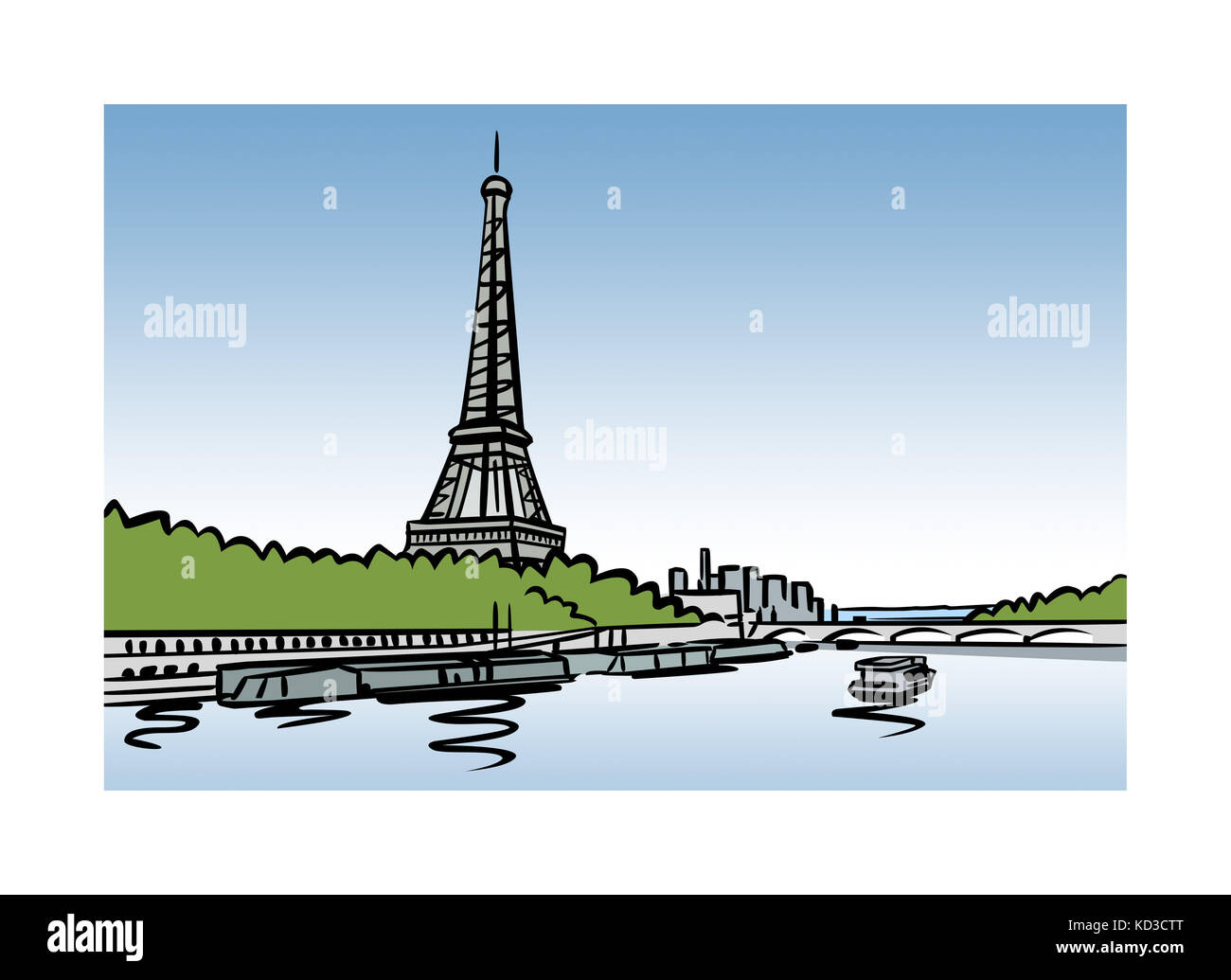 Illustration of the Seine and Eiffel Tower in Paris, France - Stock Image