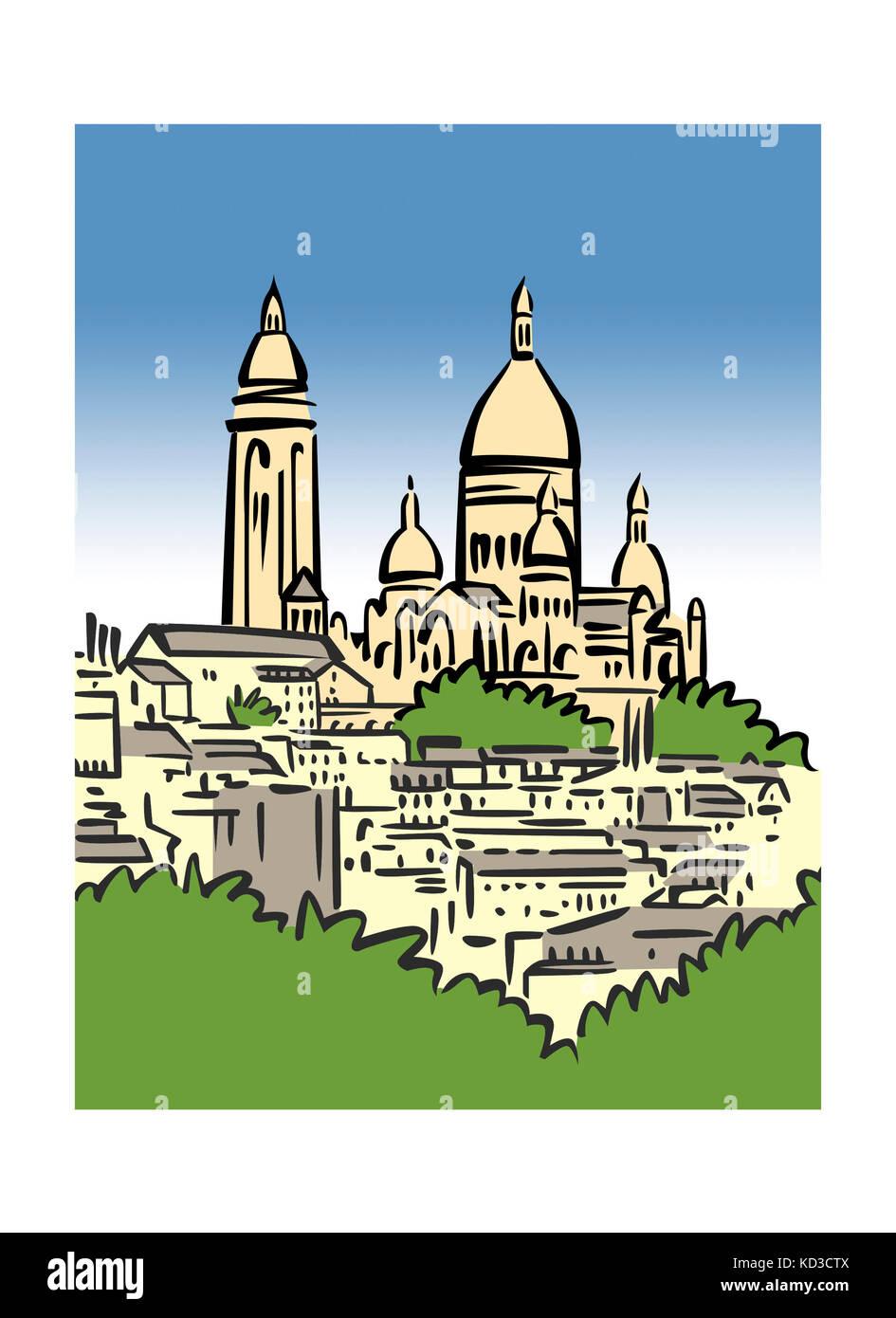 Illustration of Montmartre in Paris, France - Stock Image