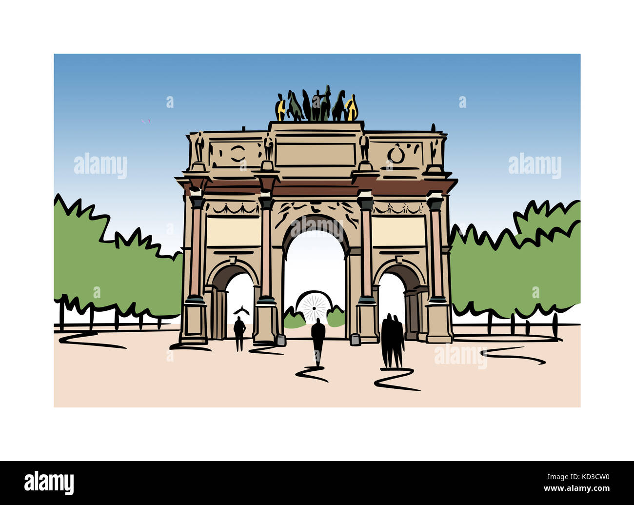 Illustration of the Arc de Carrousel in Paris, France - Stock Image