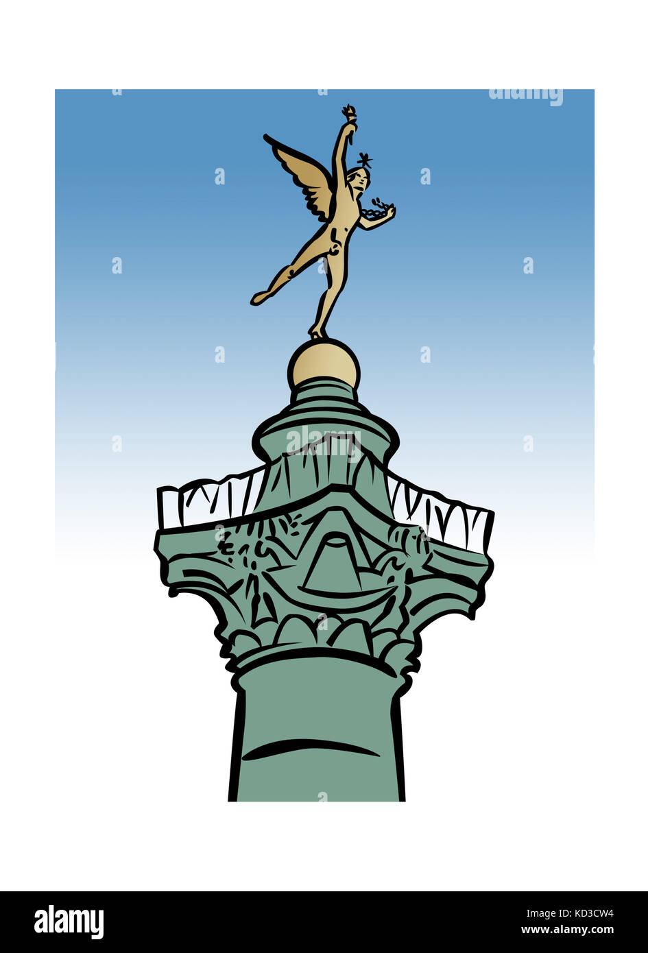 Illustration of the GŽnie de la LibertŽ statue atop the Colonne de Juillet, Place de la Bastille, Paris, France - Stock Image