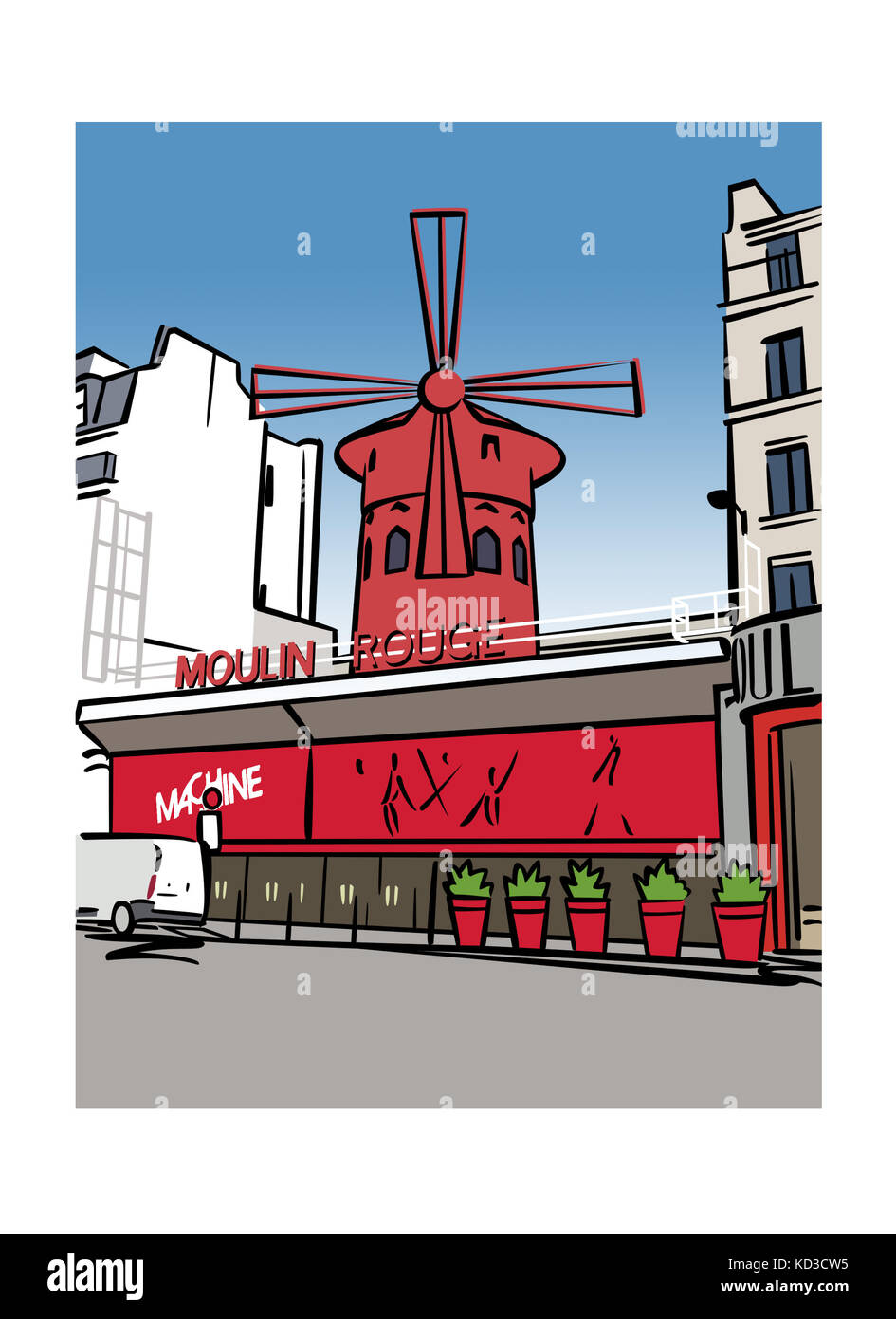 Illustration of the Moulin Rouge in Paris, France - Stock Image