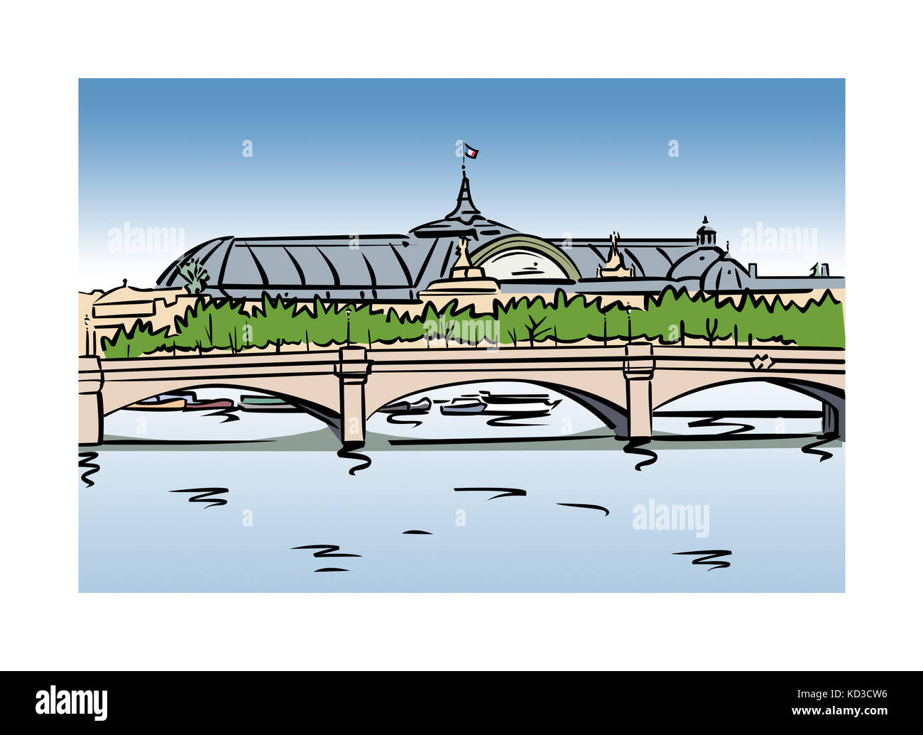 Illustration of the Grand Palais in Paris, France - Stock Image