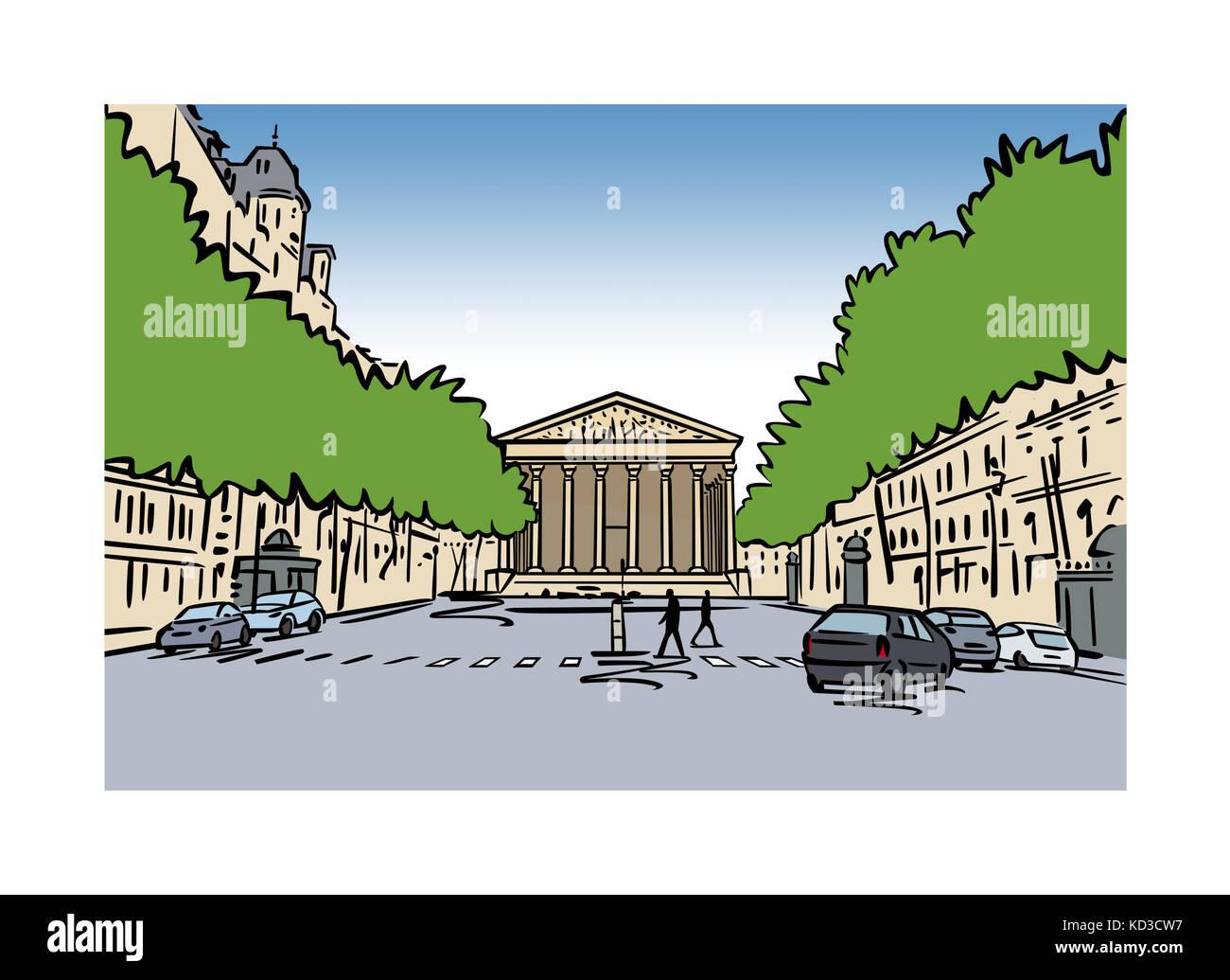 Illustration of La Madeleine, Paris, France Stock Photo