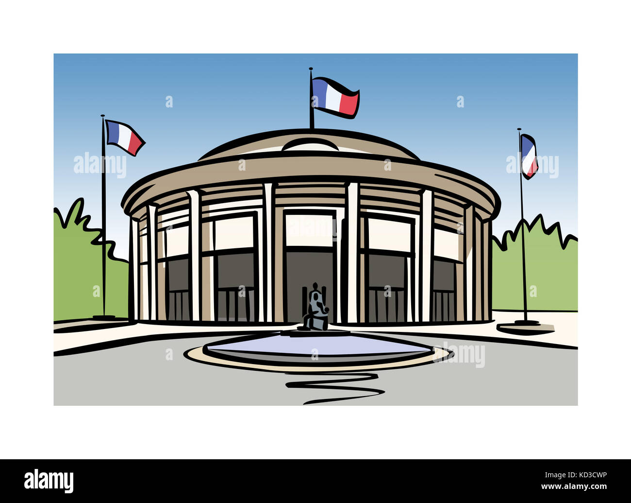 Illustration of the Economic, Social and Environmental Council of France Stock Photo