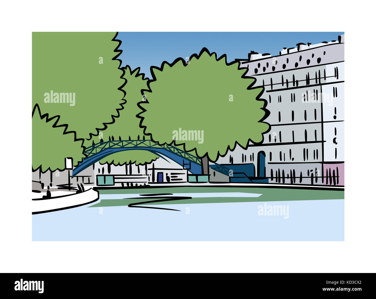 Illustration of Canal Saint-Martin in Paris, France - Stock Image