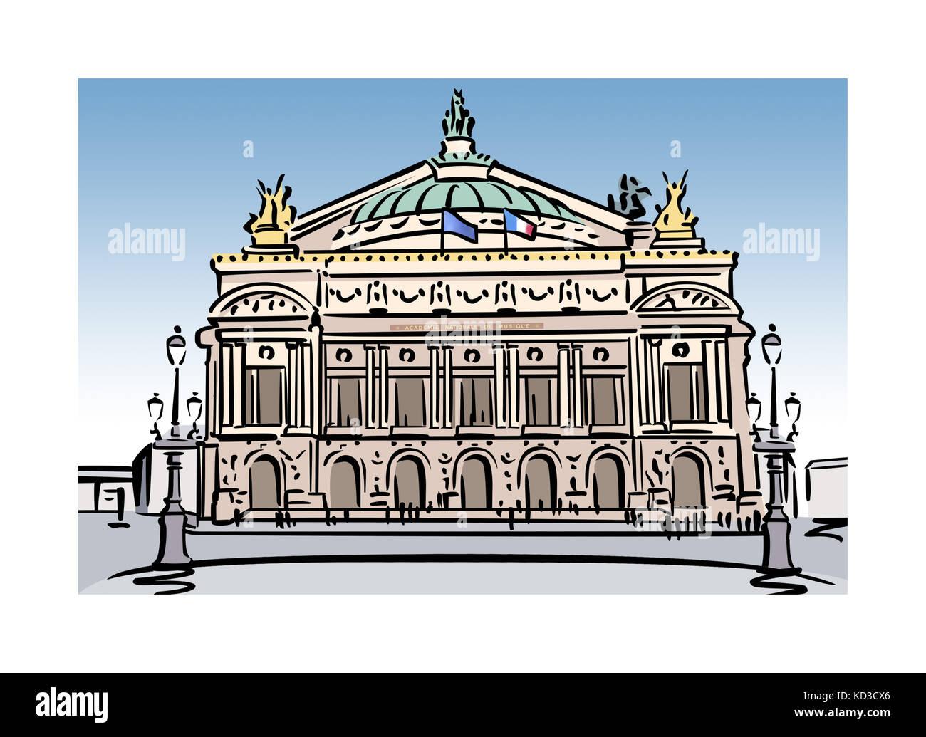 Illustration of the Opera Garnier in Paris, France - Stock Image