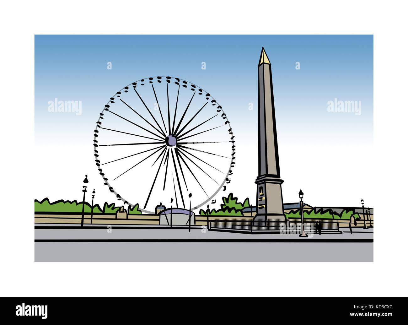 Illustration of Place de la Concorde in Paris, France - Stock Image