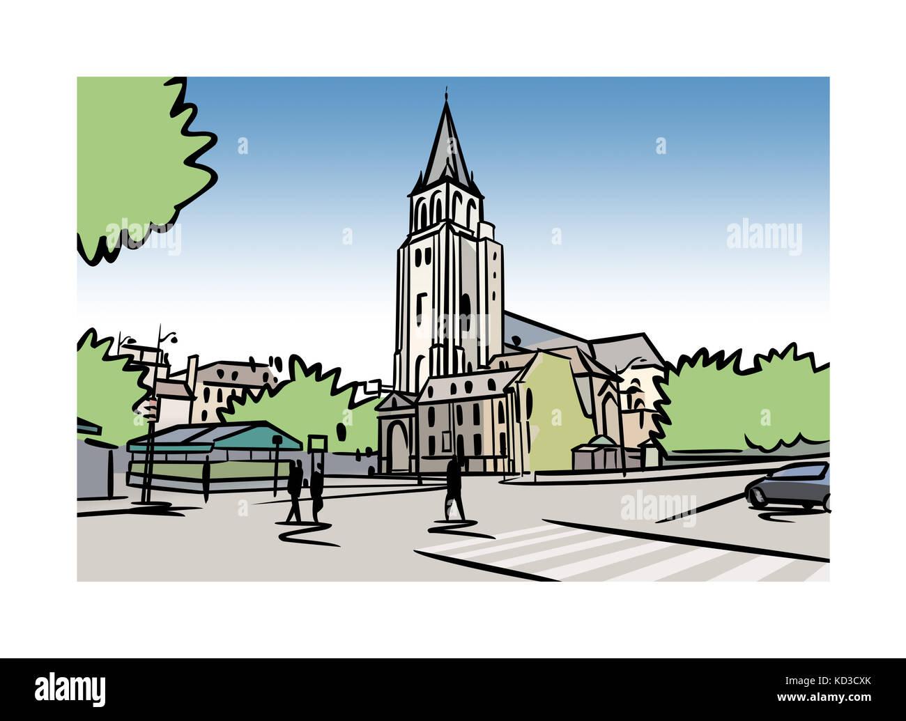 Illustration of the Abbey of Saint-Germain-des-PrŽs in Paris, France Stock Photo