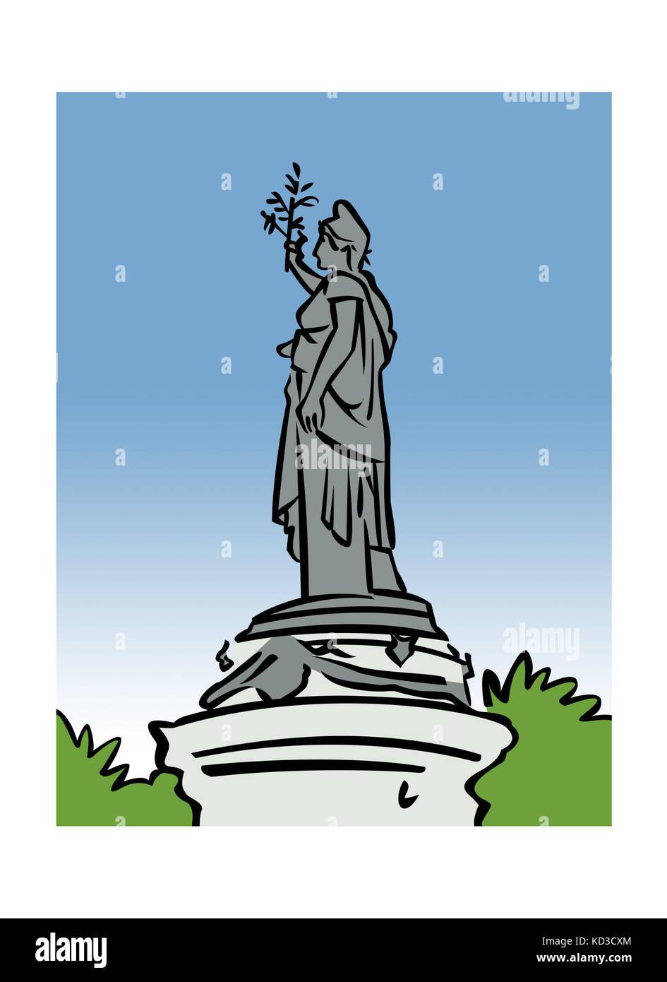 Illustration of the monument at Place de la RŽpublique in Paris, France - Stock Image