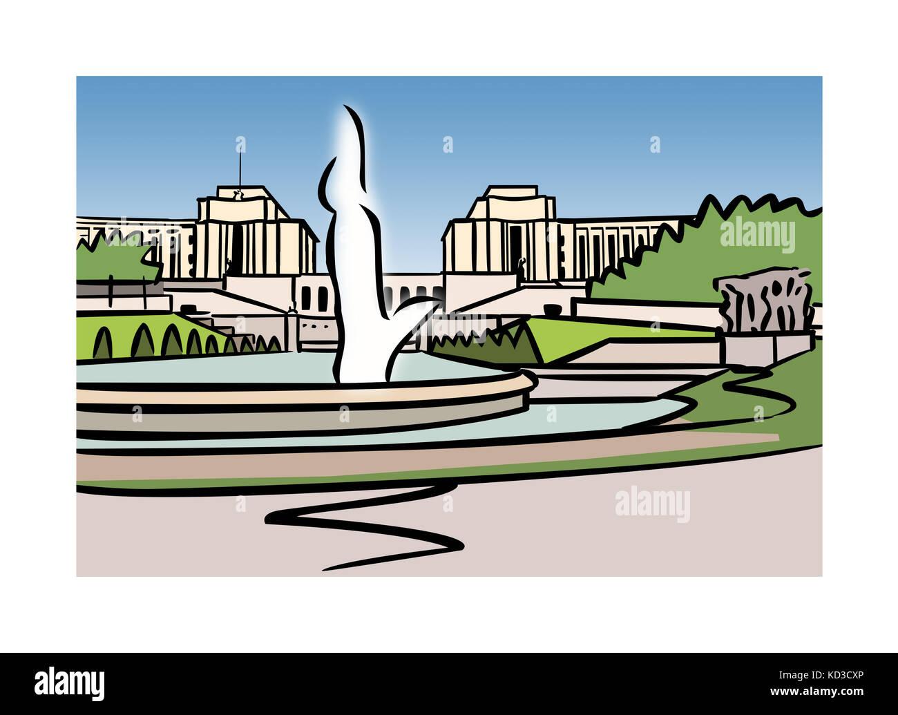 Illustration of Varsovie Fountain, Trocadero, Paris, France - Stock Image