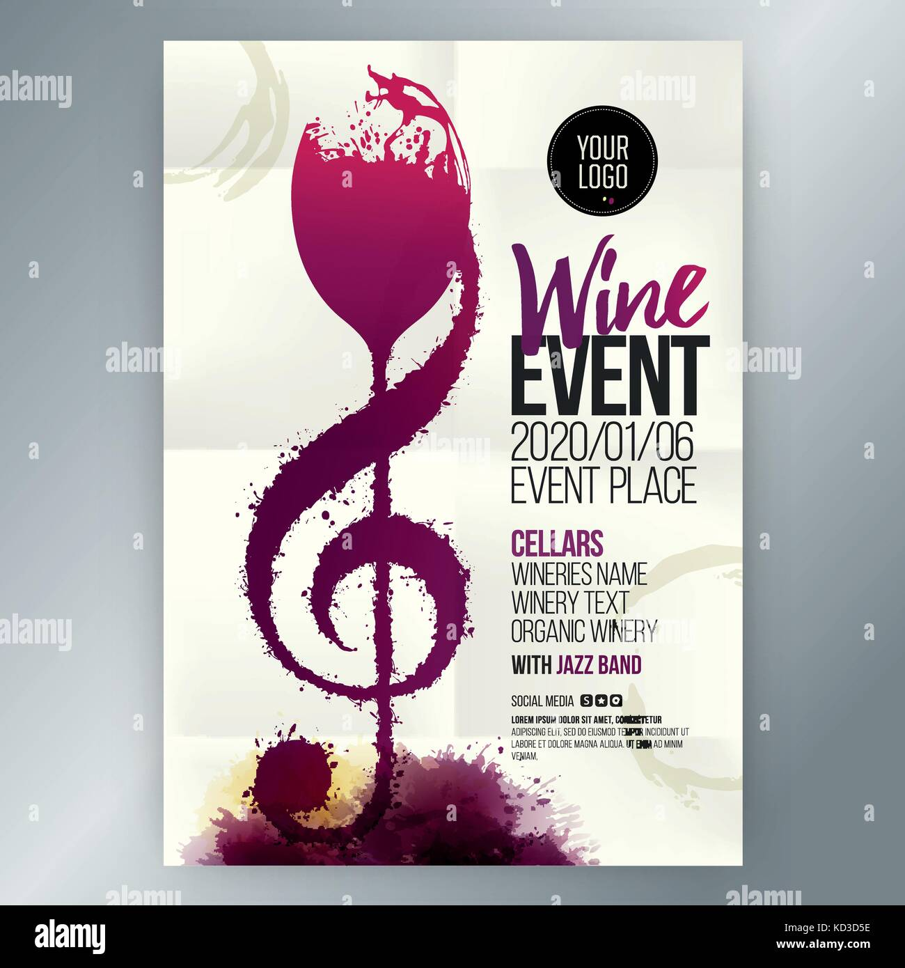 Idea concept wine and music  Colors and wine stains  Stock