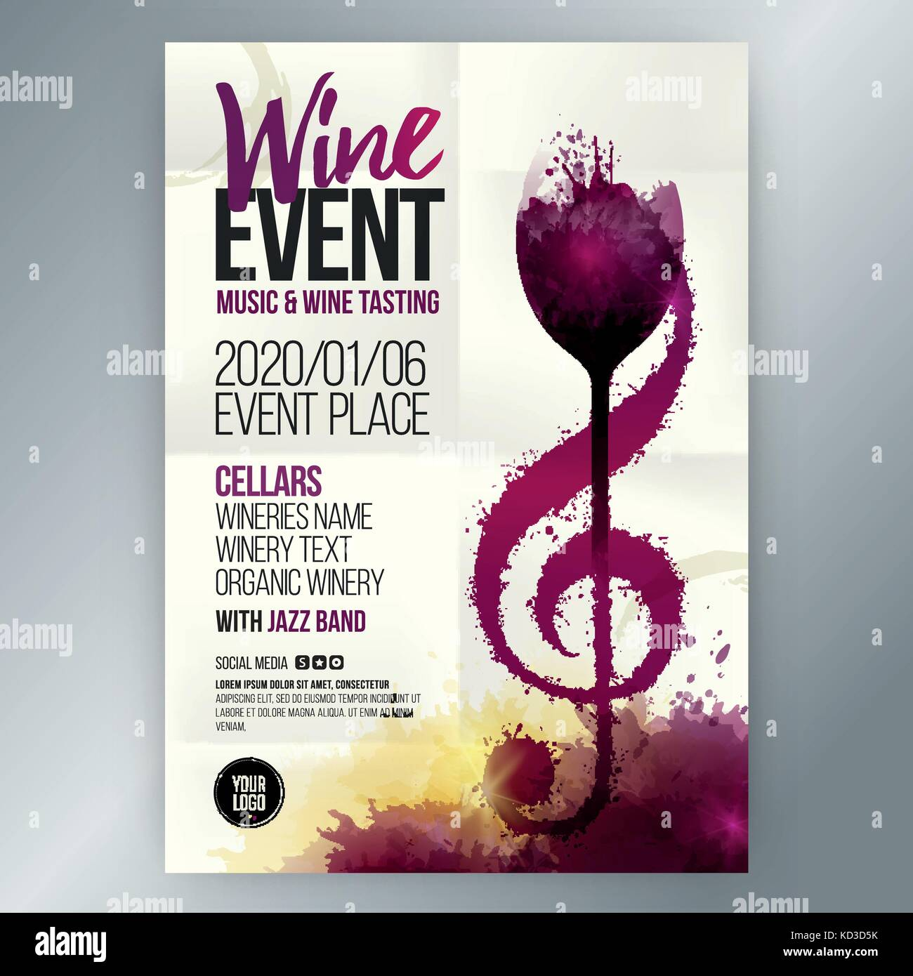 Idea concept wine and music  Template design for wine and