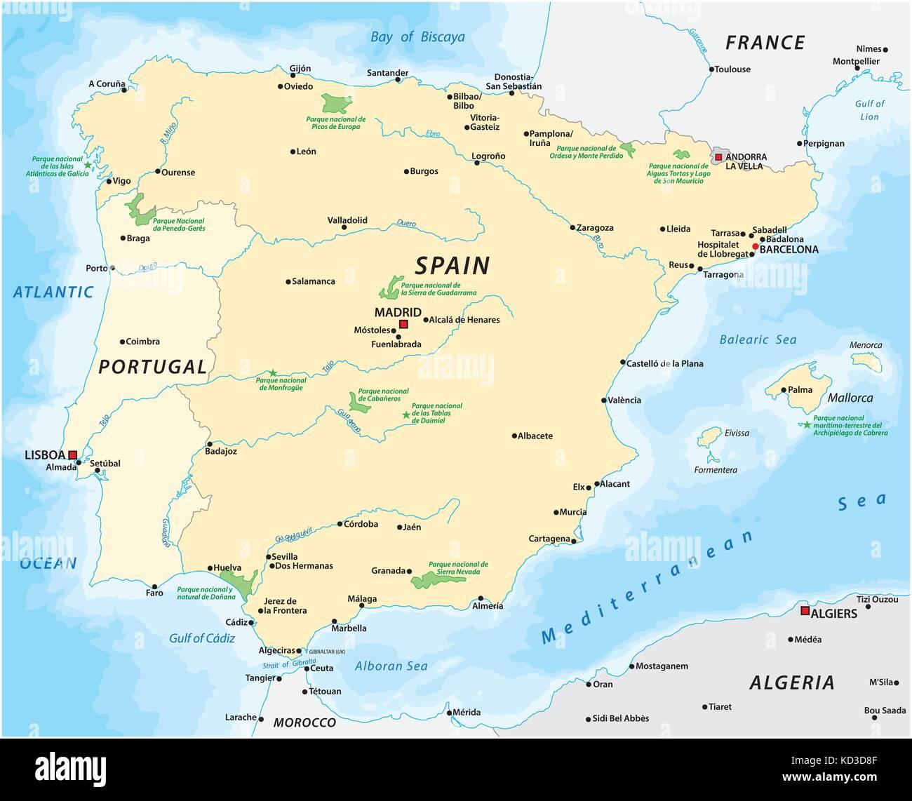 Map of the Iberian Peninsula - Stock Vector