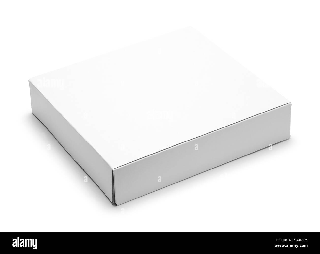 Flat White Cardboard Box Isolated on White Background. - Stock Image