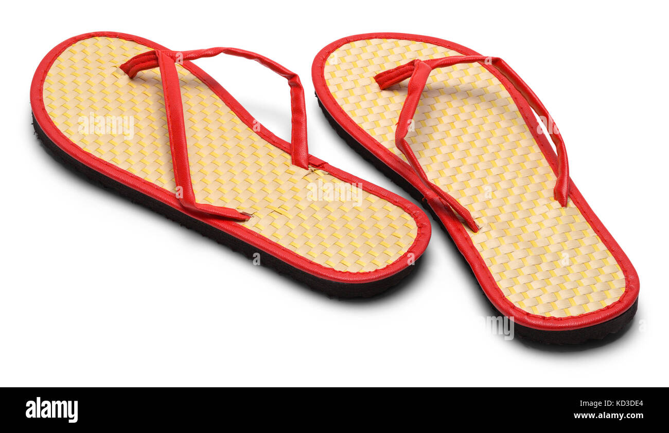 Pair of Woven Flip Flops  Facing Away Isolated on a White Background. Stock Photo