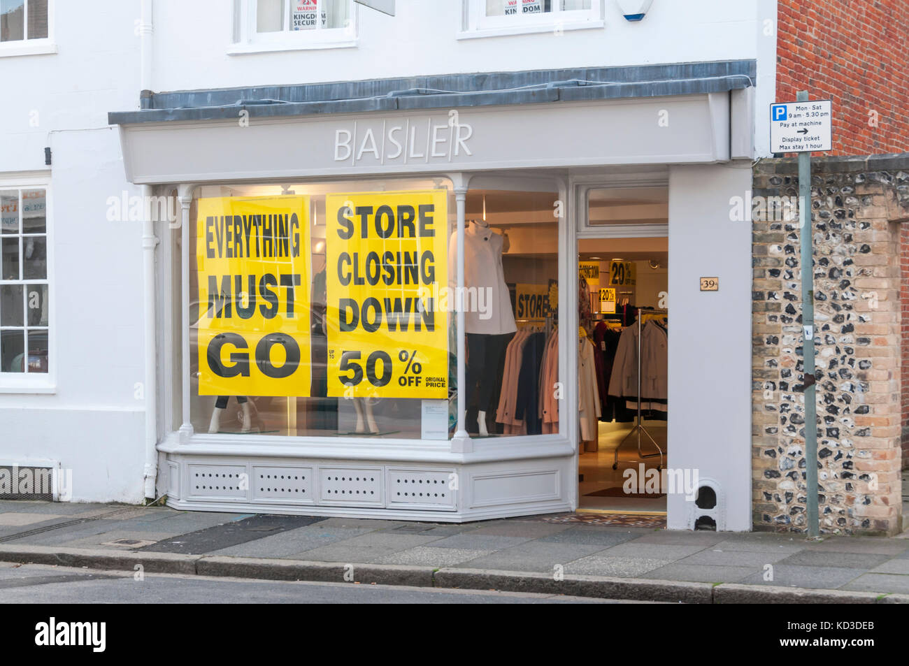 Branch of Basler women's clothing shop in Chichester having a closing down sale. - Stock Image