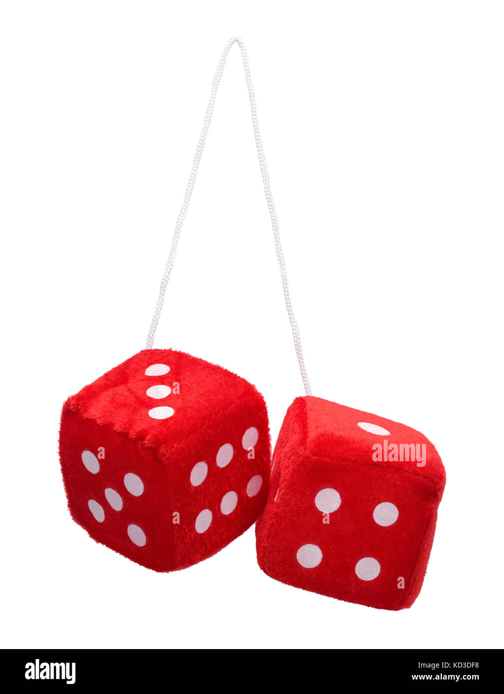 Red Fuzzy Hanging Dice Isolated on White Background. - Stock Image