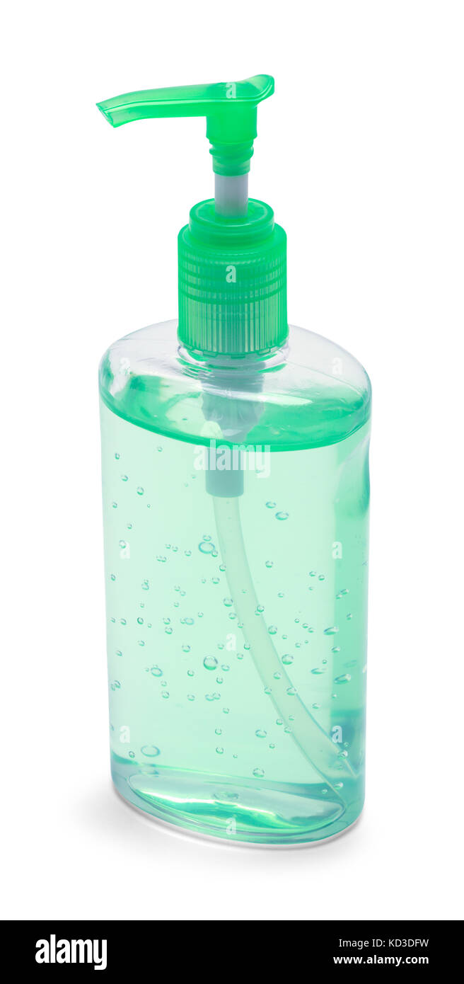 Green Bottle of Hand Sanitizer Isolated on White Background. - Stock Image