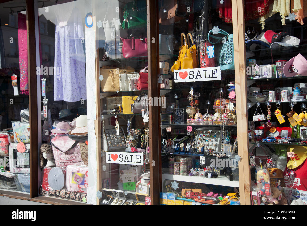 Shop Window With Goods on Tooting High Street - London UK - Stock Image