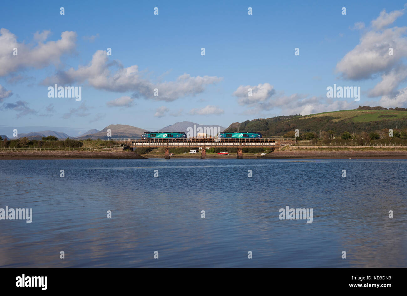 Direct Rail Services class 68 locomotives 68004 Rapid + 68025 Superb hauling a nuclear flask from  Heysham  at Ravenglass, - Stock Image