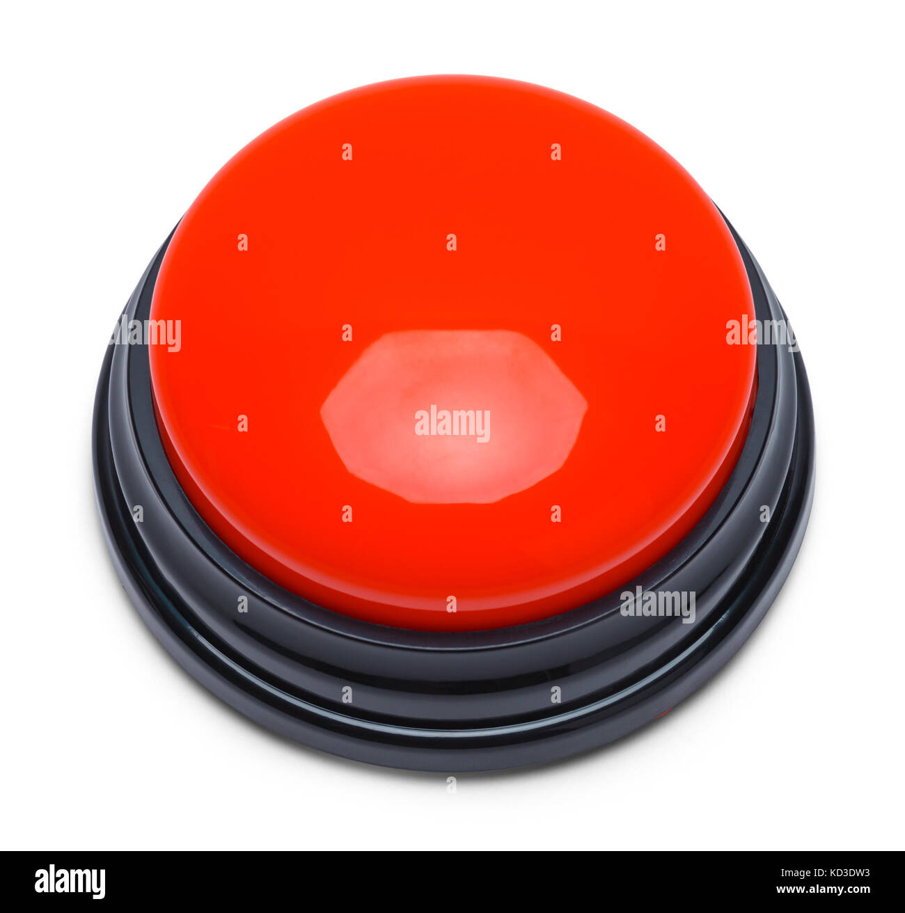 Large Red Push Button Isolated on a White Background. - Stock Image