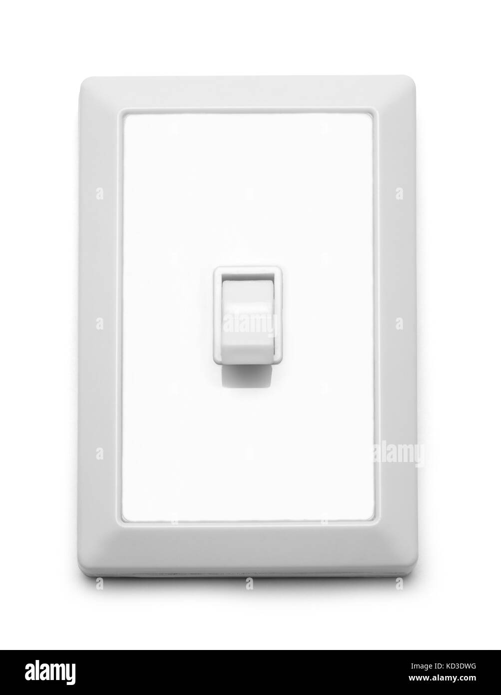 Wall Light Switch Off Isolated On White Background. - Stock Image