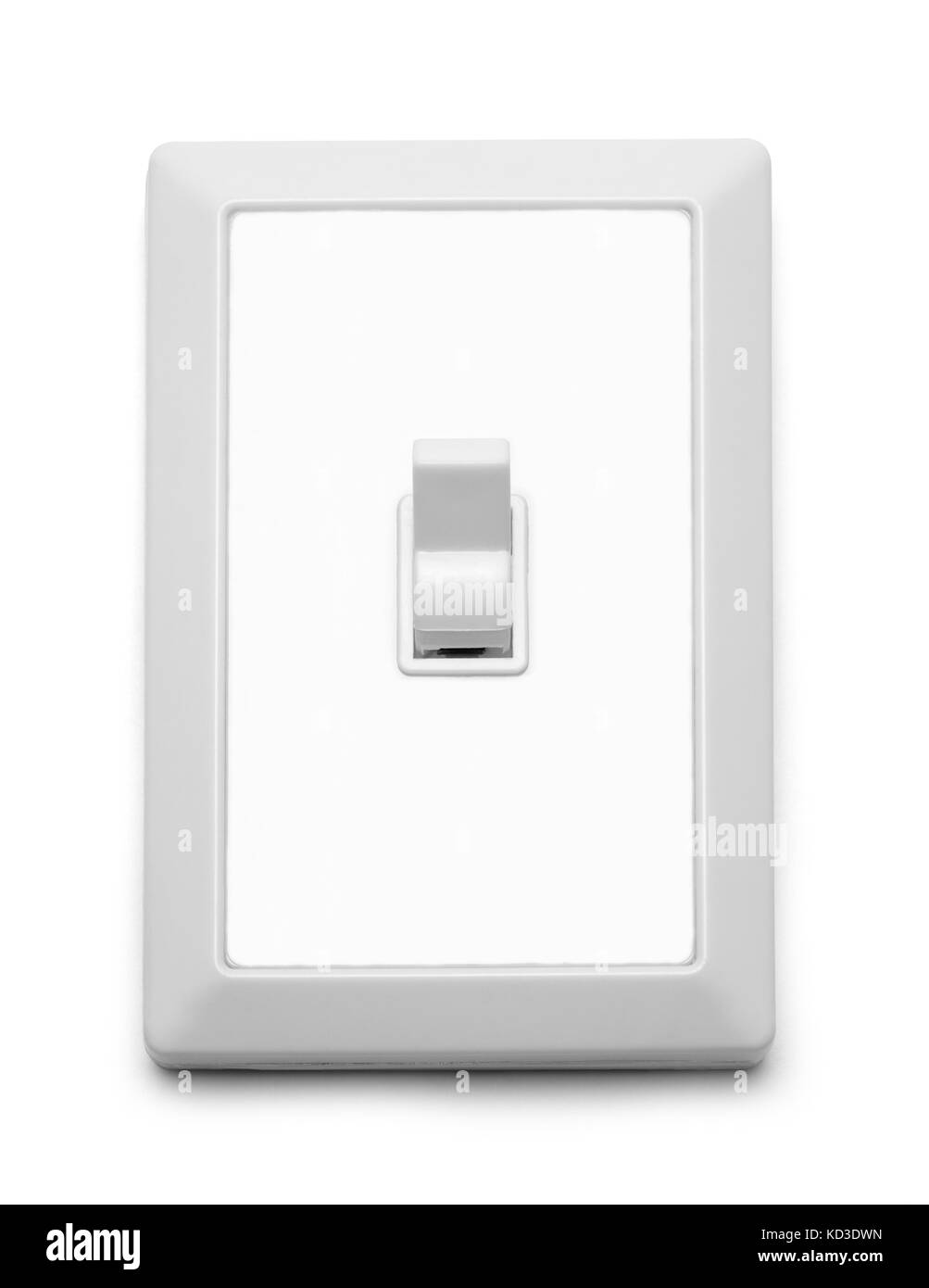 Wall Light Switch On Isolated On White Background. - Stock Image
