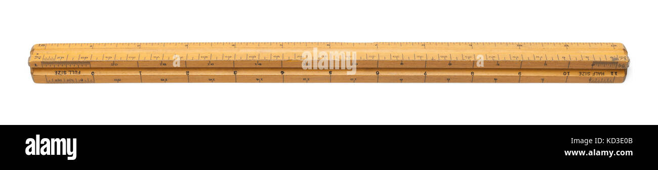 Old Drafting Ruler Isolated on White Background. - Stock Image
