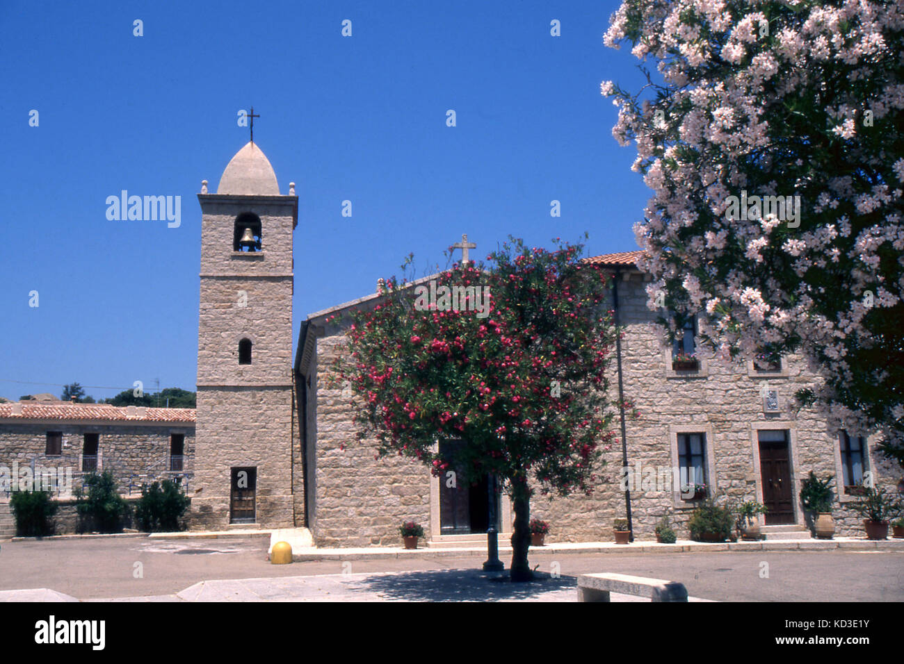 San Pantaleo, Olbia, Sardinia, The churche's square - Stock Image