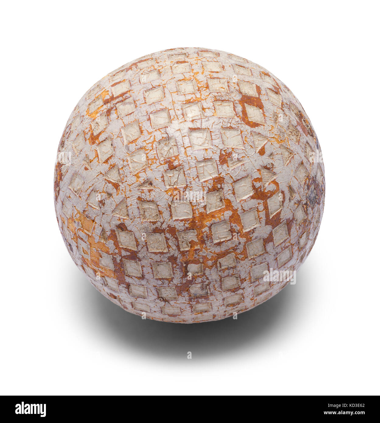 Old Wooden Golf Ball Isolated On A White Background Stock Photo