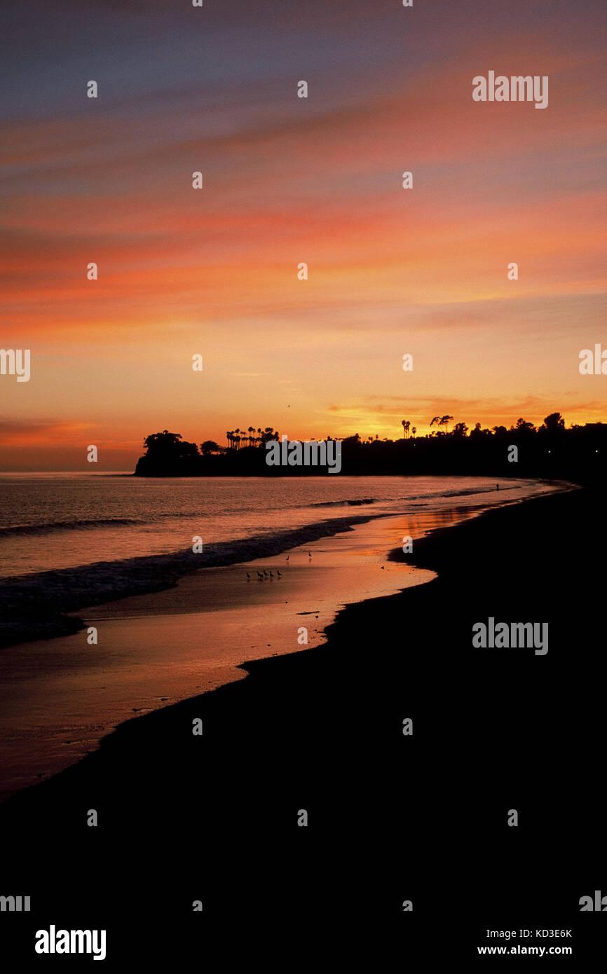 A sunset silhouette of the coast at Santa Barbara, California. Stock Photo