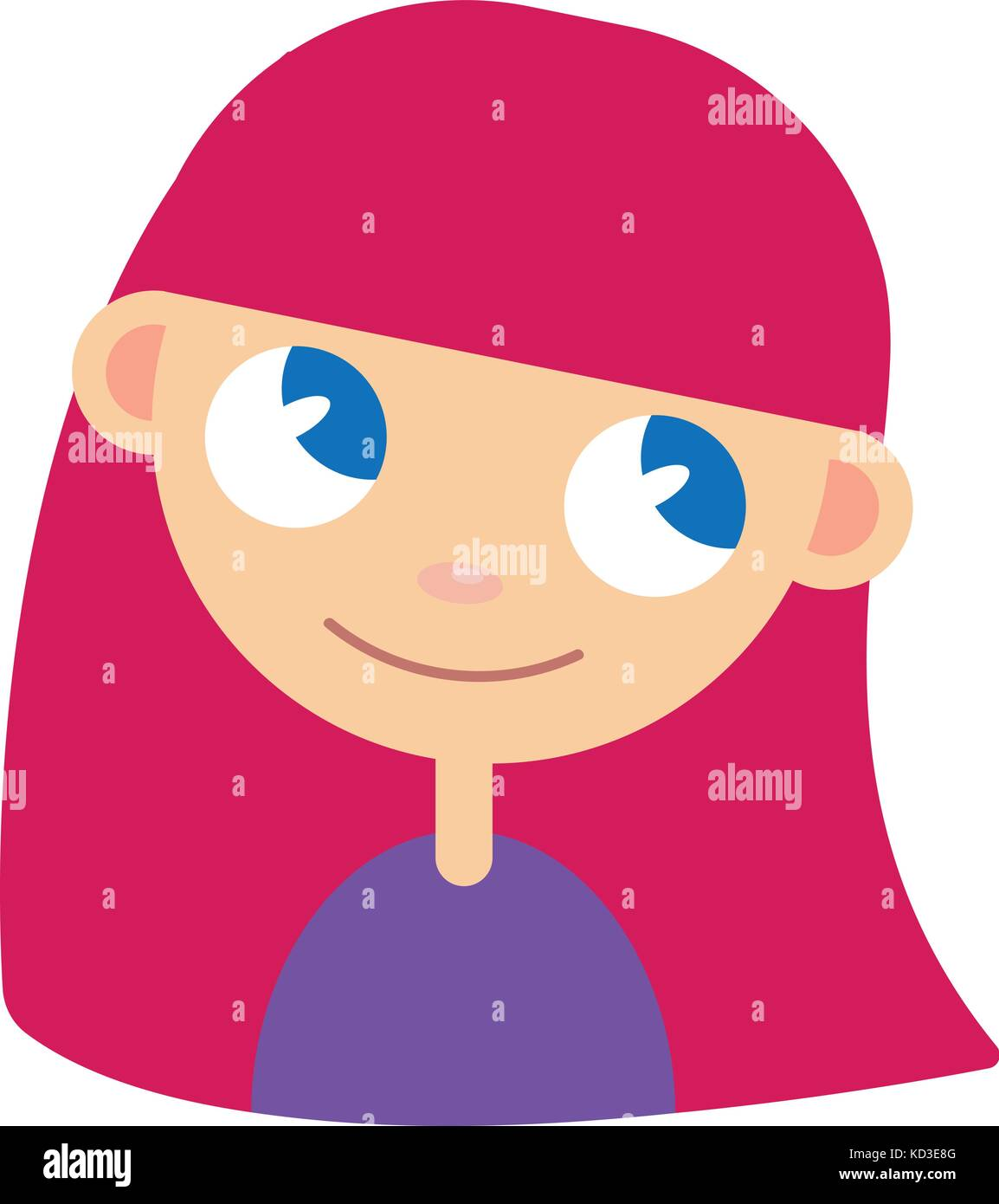Women avatar with pink hair - Stock Vector