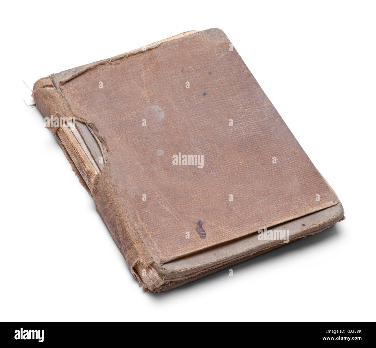 Closed Old Worn Out Book Isolated on a White Background. - Stock Image