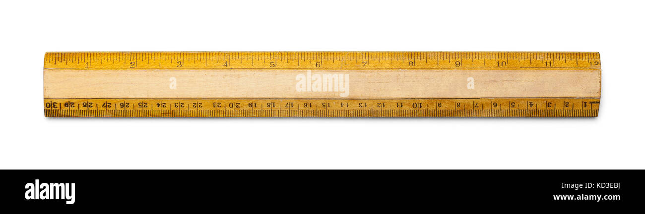 Old School Ruler with Inches and Centimeters Isolated on a White Background. - Stock Image