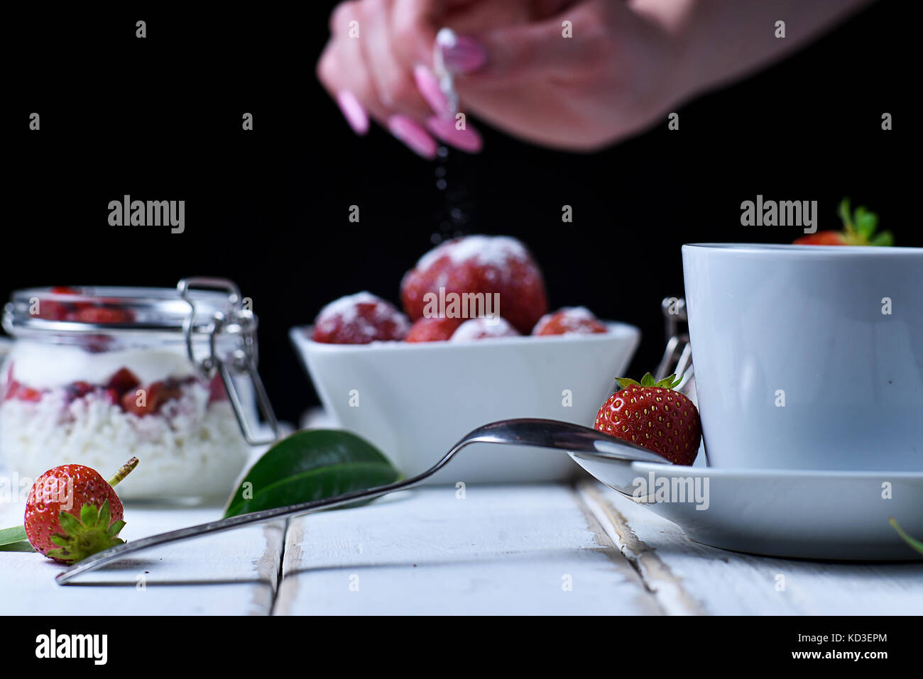 Tea and strawberry dessert Stock Photo