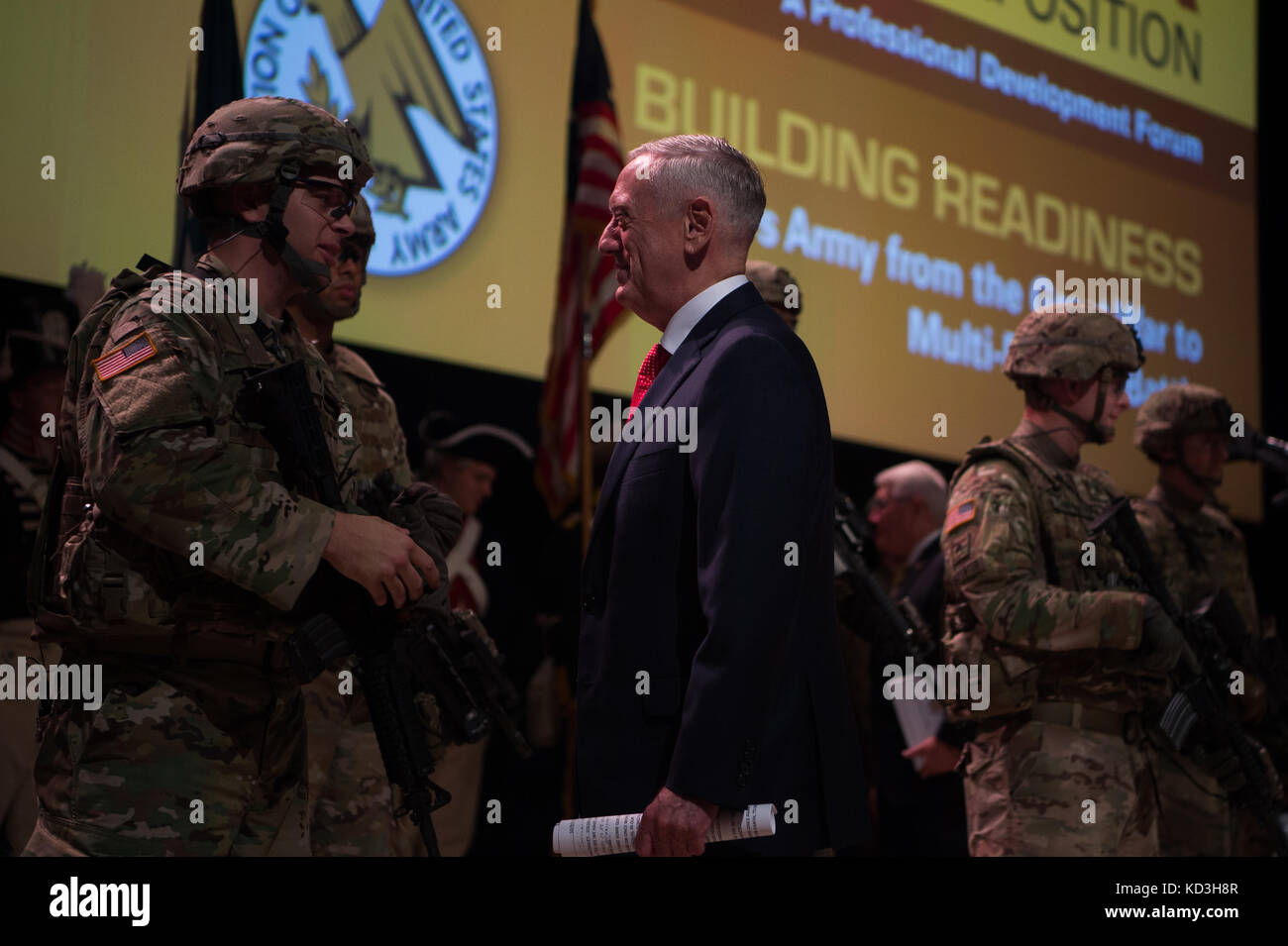 sneakers for cheap a0bf0 402bf Defense Secretary Jim Mattis shakes hands with Soldier performers during  the 2017 annual meeting of the