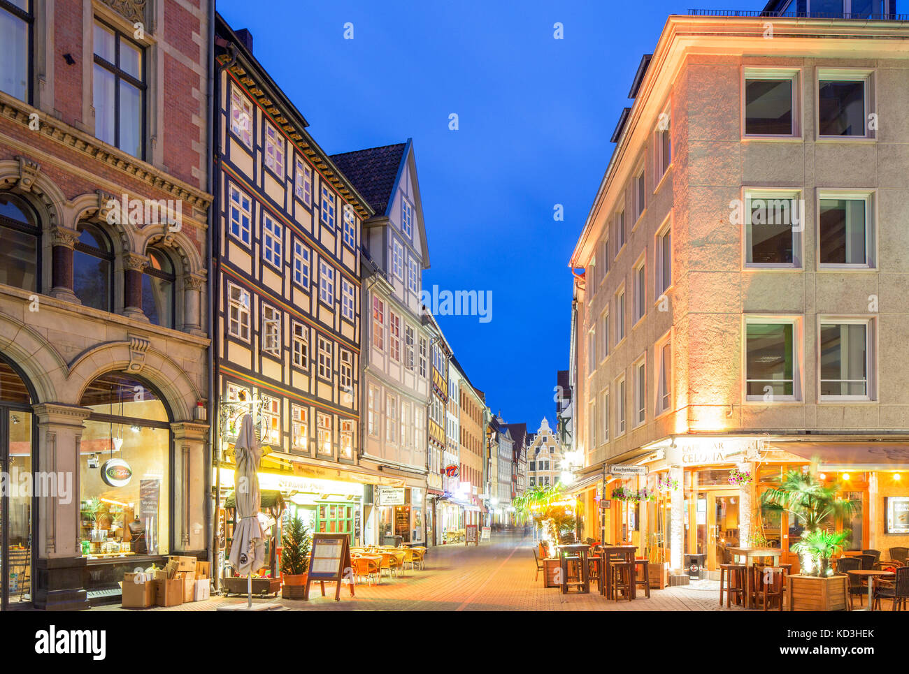 Half-timbered houses in the Kramerstraße, Old Town, evening twilight, Hanover, Lower Saxony, Germany - Stock Image