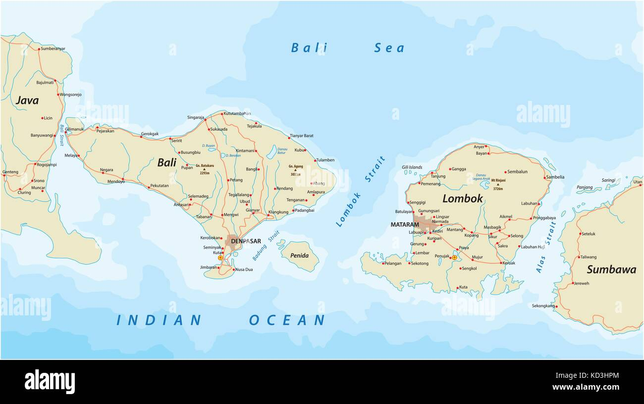 Vector road map of Indonesian Lesser Sunda Islands Bali and Lombok ...