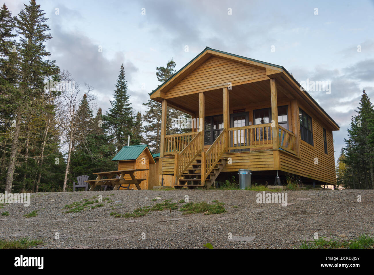 Wooden communal refuge on Megantic Mount National Park, in the Eastern Townshops, Quebec Province, Canada - Stock Image