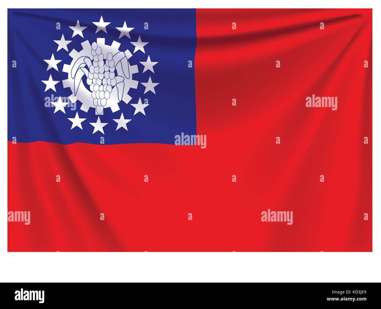 back flag myanmar - Stock Vector