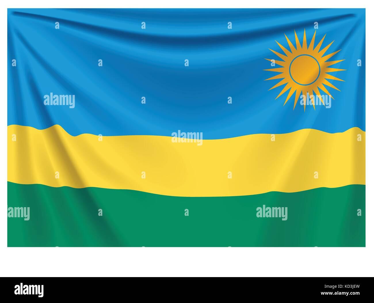 back flag rwanda - Stock Vector