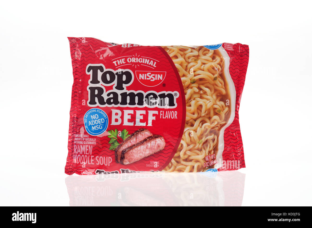 Unopened Original Nissin Ramen Noodles in Beef Flavor with new packaging with no added msg & no artificial flavors - Stock Image