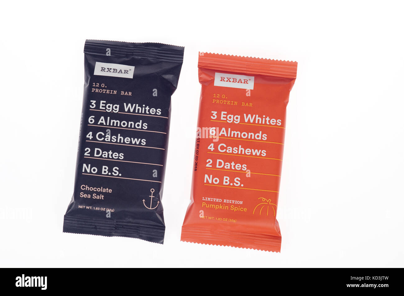 2 RXbar whole food Protein Bars in wrappers  on white background, cutout USA - Stock Image