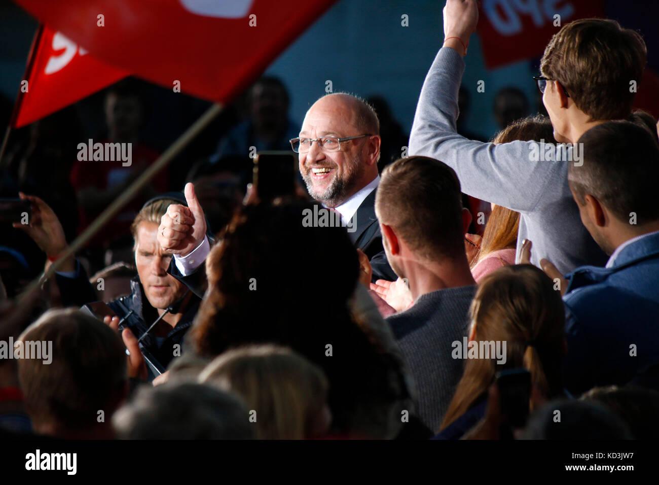 Martin Schulz - Wahlkampfauftritt des Kanzlerkandidaten der SPD, Gendarmenmarkt, 12. September 2017, Berlin. - Stock Image