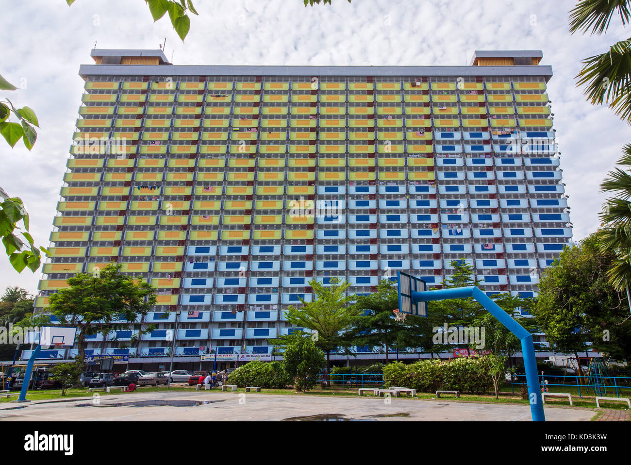 IPOH, MALAYSIA - OCT 01, 2017: Exterior of an old public housing flat built by the government in Ipoh, Malaysia, - Stock Image